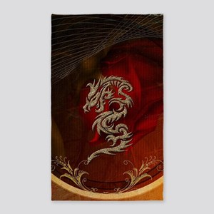 Awesome dragon, tribal design Area Rug
