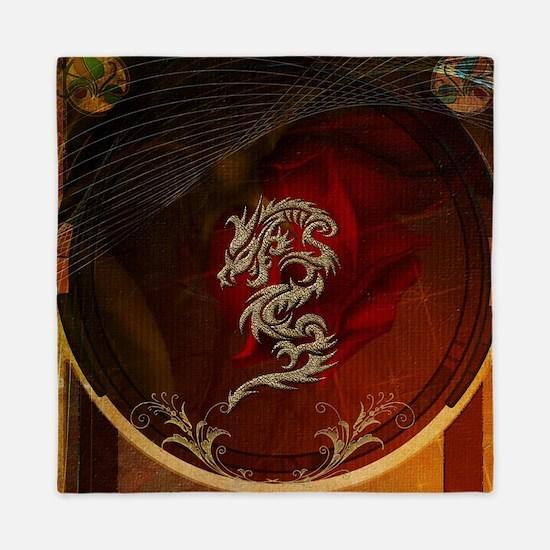 Awesome dragon, tribal design Queen Duvet