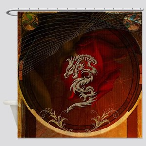 Awesome dragon, tribal design Shower Curtain
