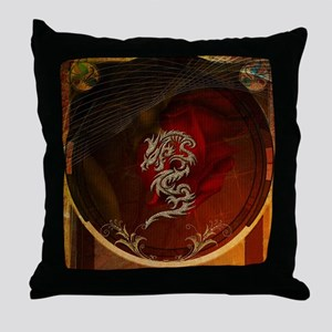 Awesome dragon, tribal design Throw Pillow