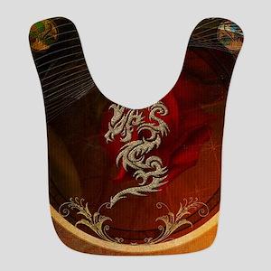 Awesome dragon, tribal design Polyester Baby Bib