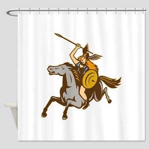 Valkyrie Riding Horse Retro Shower Curtain