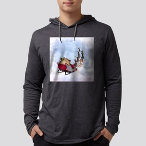 Christmas, santa Claus with reindeer Mens Hooded S
