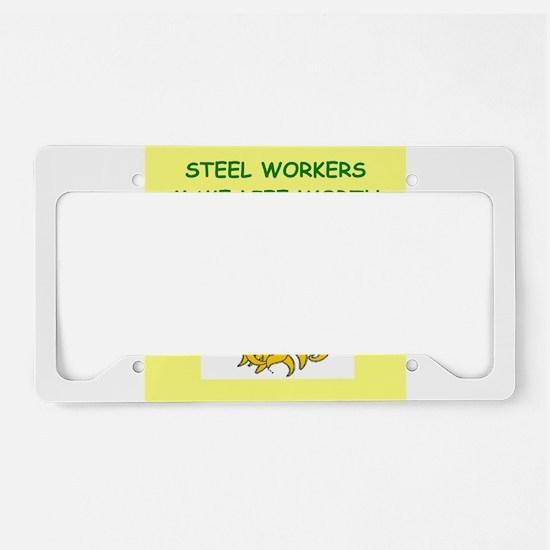 steel worker License Plate Holder