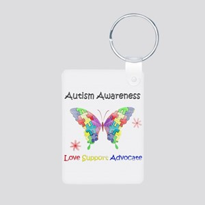 Autism Awareness Butterfly Aluminum Photo Keychain