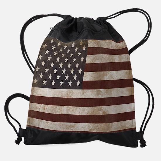 Vintage American Flag King Duvet 1 Drawstring Bag