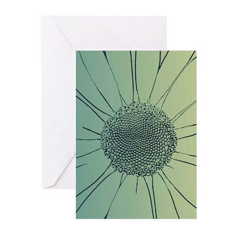 Teal Daisy Greeting Cards (Pk of 10)