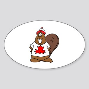 Canadian Beaver Oval Sticker