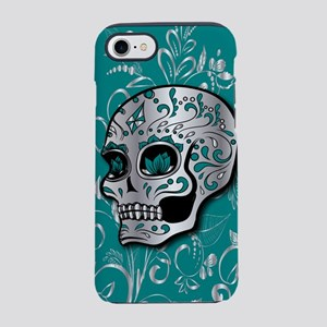 Whimsical silver and teal suga iPhone 7 Tough Case