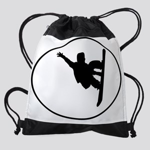 Snowboarder Oval Drawstring Bag