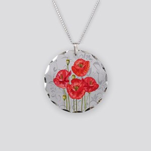 Four pretty red poppies Necklace Circle Charm