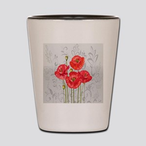 Four pretty red poppies Shot Glass