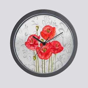 Four pretty red poppies Wall Clock