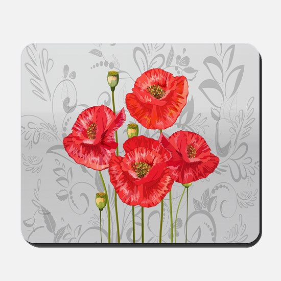 Four pretty red poppies Mousepad
