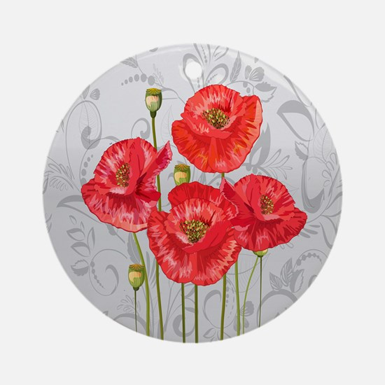Four pretty red poppies Round Ornament