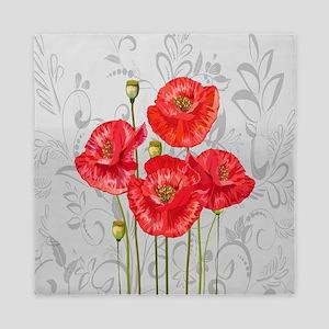 Four pretty red poppies Queen Duvet