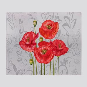 Four pretty red poppies Throw Blanket
