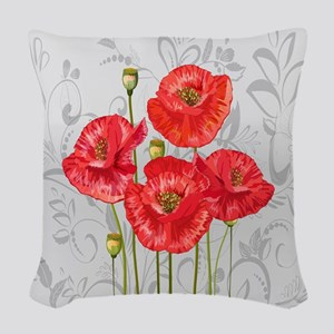Four pretty red poppies Woven Throw Pillow