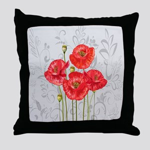 Four pretty red poppies Throw Pillow
