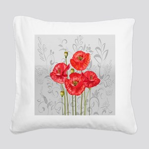 Four pretty red poppies Square Canvas Pillow