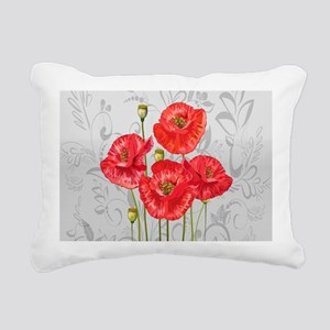Four pretty red poppies Rectangular Canvas Pillow