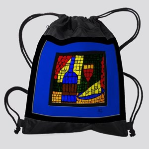 Wine & Cheese On Blue Drawstring Bag