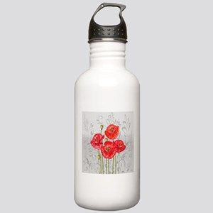 Four pretty red poppie Stainless Water Bottle 1.0L