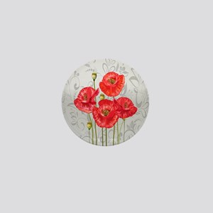 Four pretty red poppies Mini Button