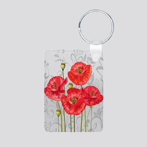 Four pretty red poppies Keychains