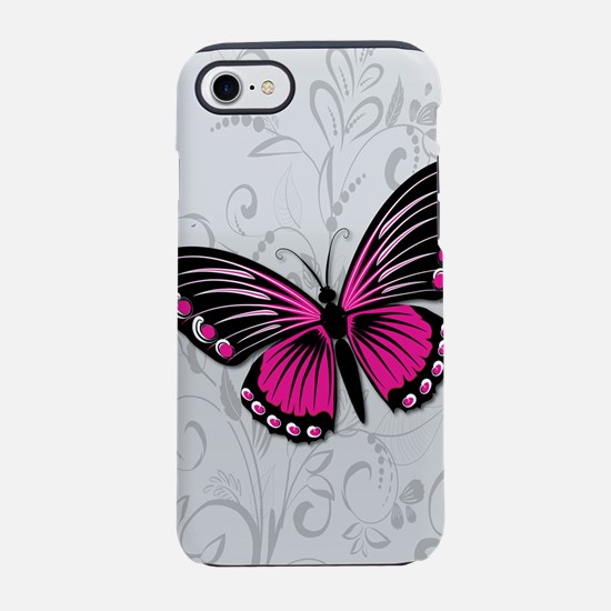 Whimsical Pink Butterfly on gr iPhone 7 Tough Case