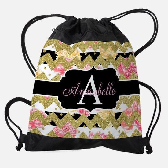 Chic Gold Chevron Monogram Drawstring Bag