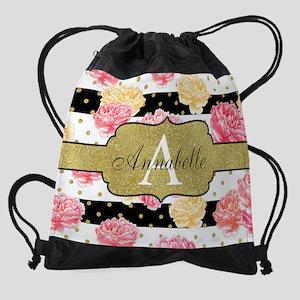 Chic Horizontal Stripes Monogram Drawstring Bag