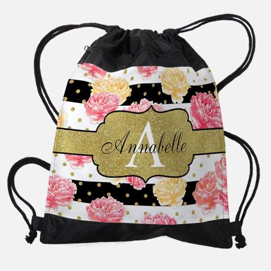 Chic Horizontal Stripes Monogram Drawstring Bag