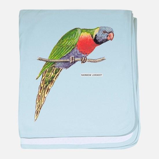 Rainbow Lorikeet Bird baby blanket