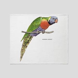 Rainbow Lorikeet Bird Throw Blanket