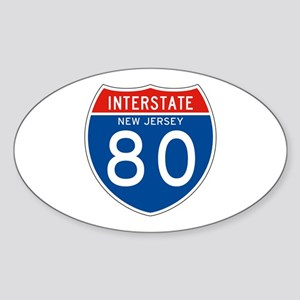 Interstate 80 - NJ Oval Sticker