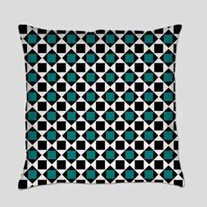 Chic teal and black squares and di Everyday Pillow
