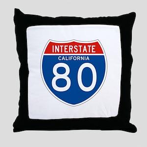 Interstate 80 - CA Throw Pillow