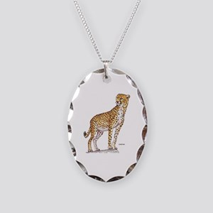 Cheetah Big Cat Necklace Oval Charm