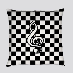 Treble Clef on check Everyday Pillow