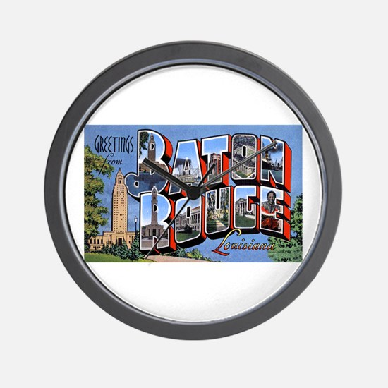 Baton Rouge Louisiana Greetings Wall Clock