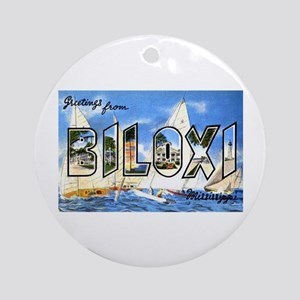 Biloxi Mississippi Greetings Ornament (Round)