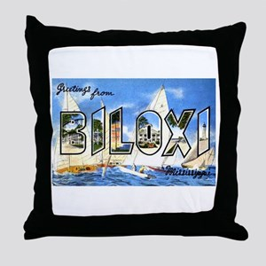 Biloxi Mississippi Greetings Throw Pillow