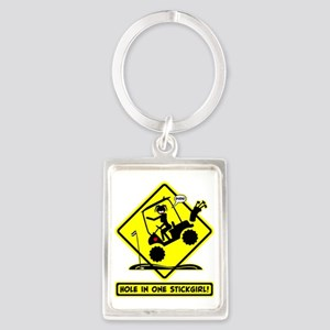 HOLE IN ONE! yellow placard Keychains
