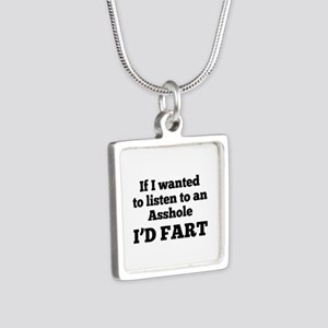 I'd Fart Silver Square Necklace