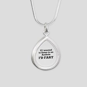 I'd Fart Silver Teardrop Necklace