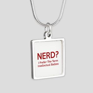 Nerd? Silver Square Necklace