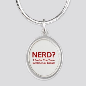 Nerd? Silver Oval Necklace