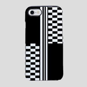 Black and white striped check iPhone 7 Tough Case