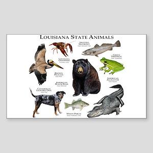 Louisiana State Animals Sticker (Rectangle)